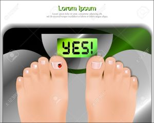 Female feet on bathroom scales. Vector illustration.